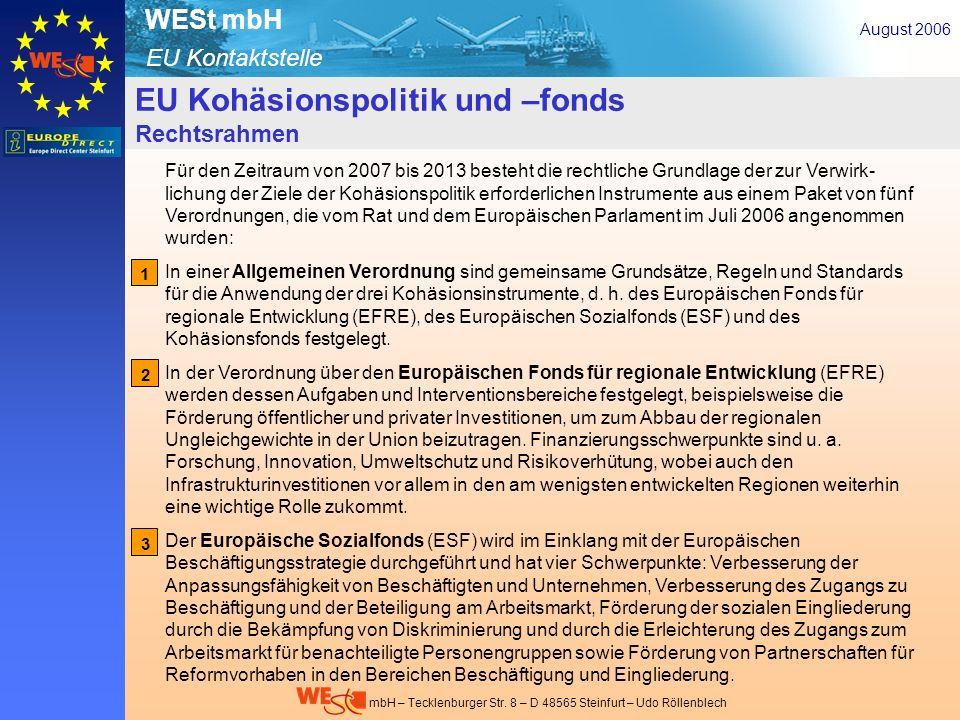 EU-Kohäsionspolitik- u. –fonds – Rechtsrahmen 2