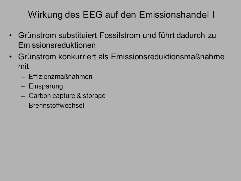 Wirkung des EEG auf den Emissionshandel I