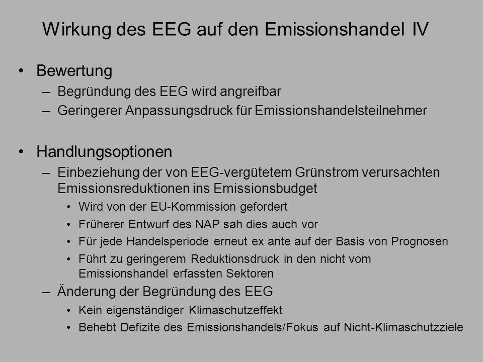 Wirkung des EEG auf den Emissionshandel IV