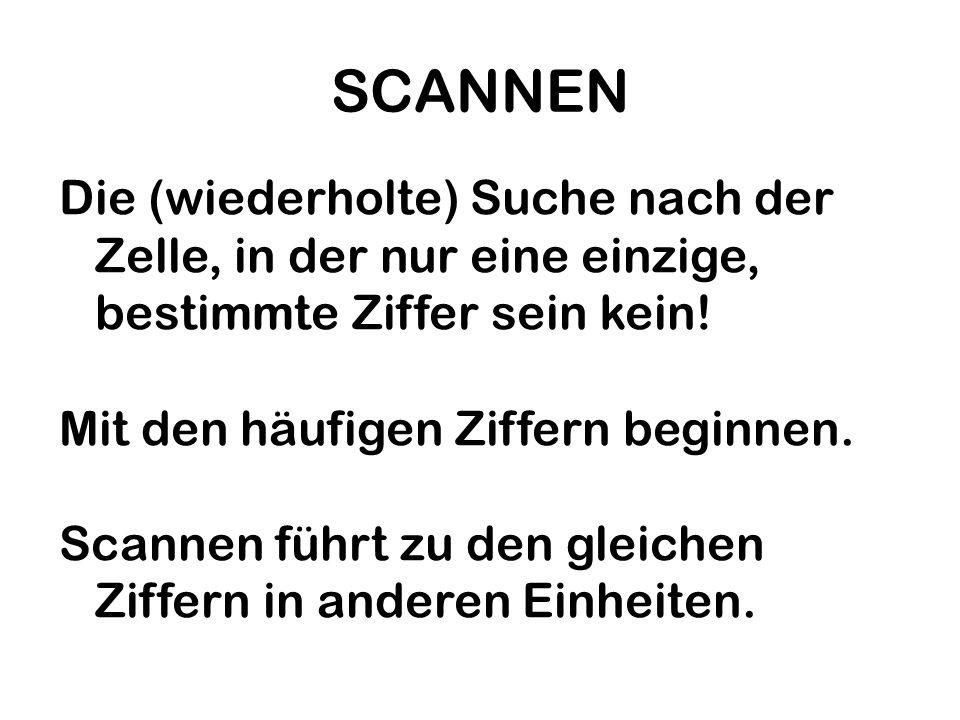 SCANNENDie (wiederholte) Suche nach der Zelle, in der nur eine einzige, bestimmte Ziffer sein kein!