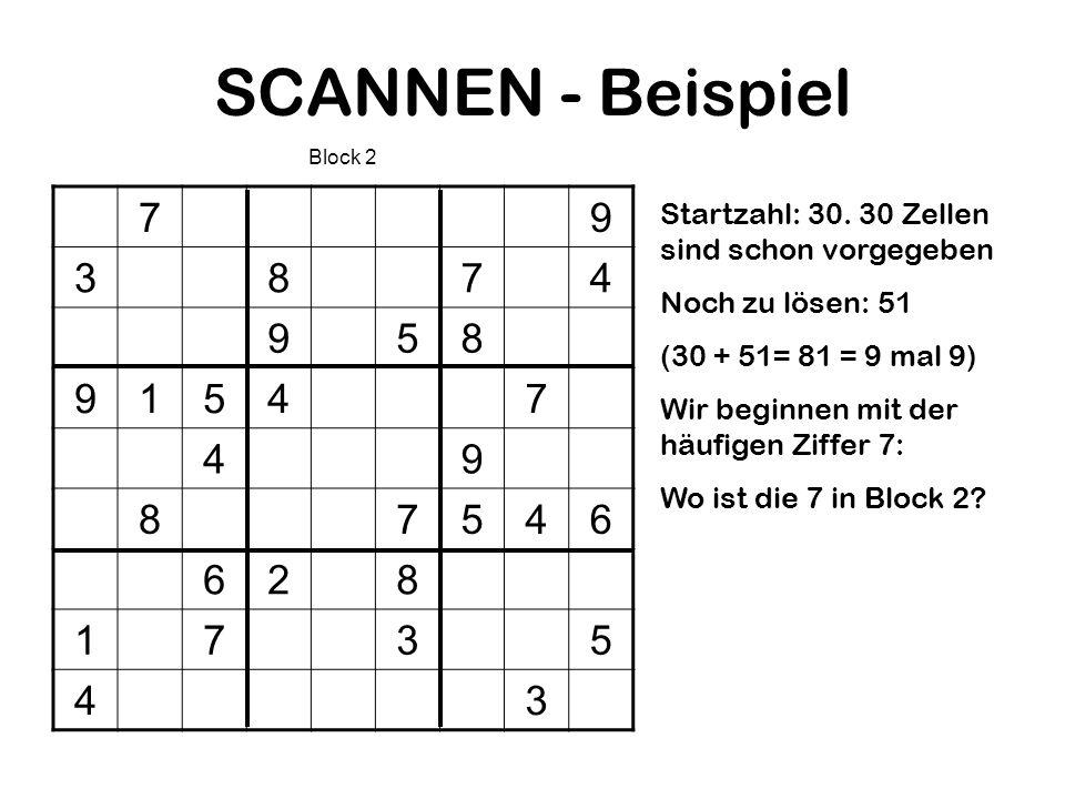 SCANNEN - BeispielBlock 2. 7. 9. 3. 8. 4. 5. 1. 6. 2. Startzahl: 30. 30 Zellen sind schon vorgegeben.