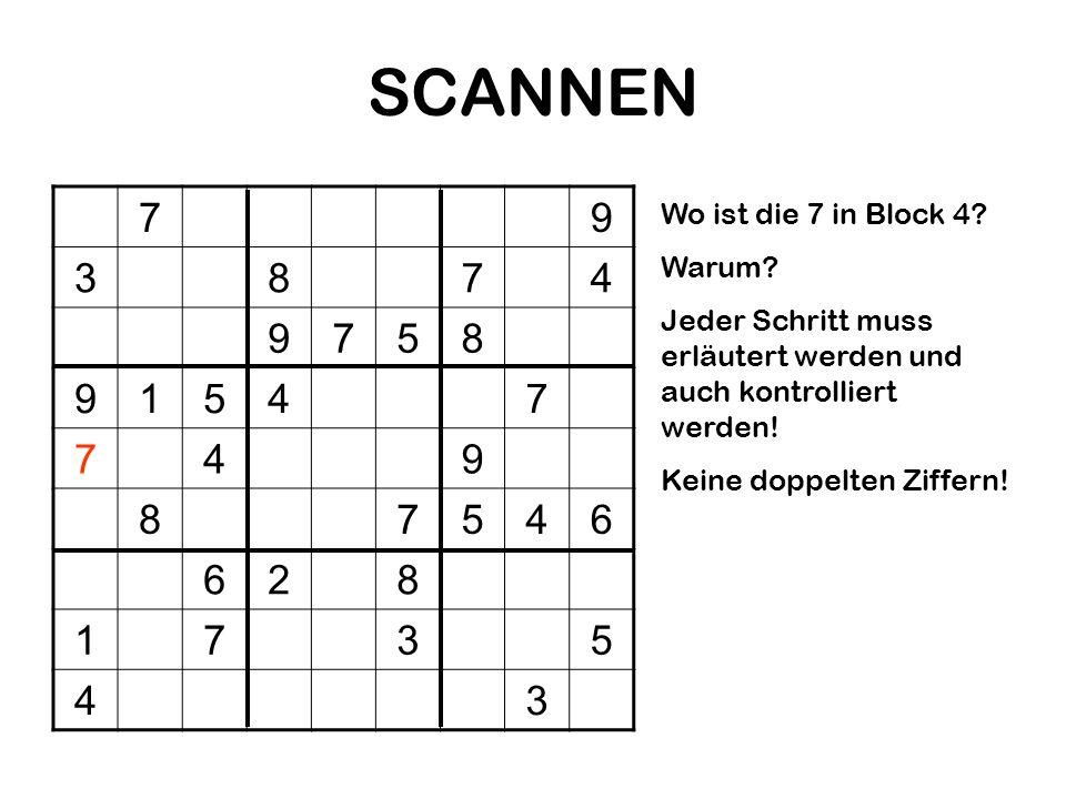 SCANNEN 7 9 3 8 4 5 1 6 2 Wo ist die 7 in Block 4 Warum