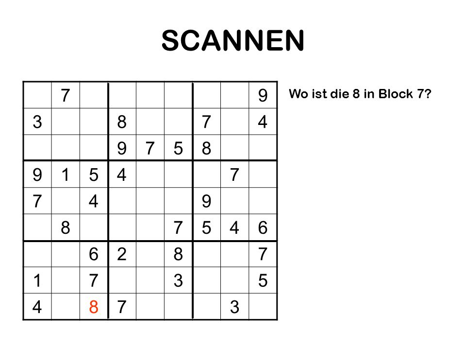 SCANNEN 7 9 3 8 4 5 1 6 2 Wo ist die 8 in Block 7