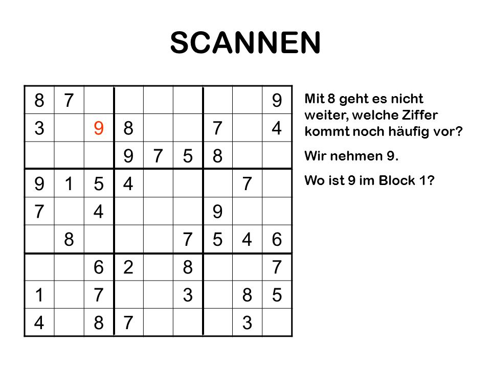 SCANNEN 8. 7. 9. 3. 4. 5. 1. 6. 2. Mit 8 geht es nicht weiter, welche Ziffer kommt noch häufig vor