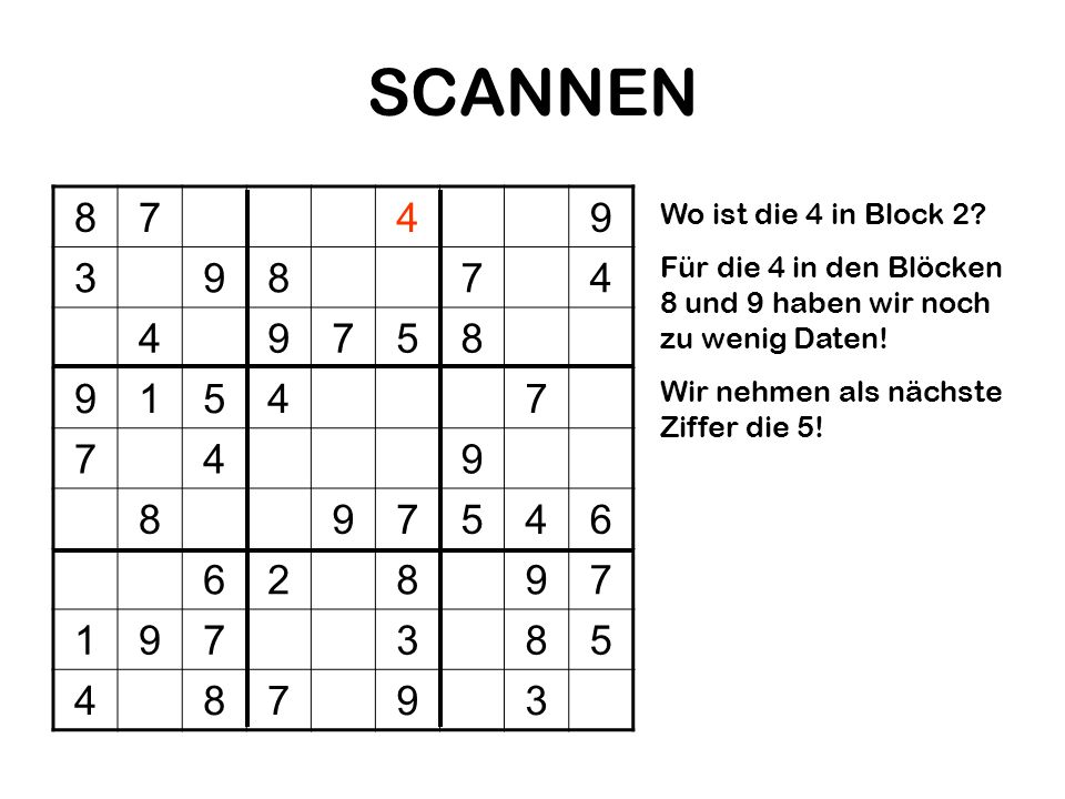 SCANNEN 8 7 4 9 3 5 1 6 2 Wo ist die 4 in Block 2