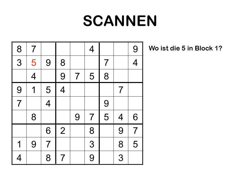 SCANNEN 8 7 4 9 3 5 1 6 2 Wo ist die 5 in Block 1