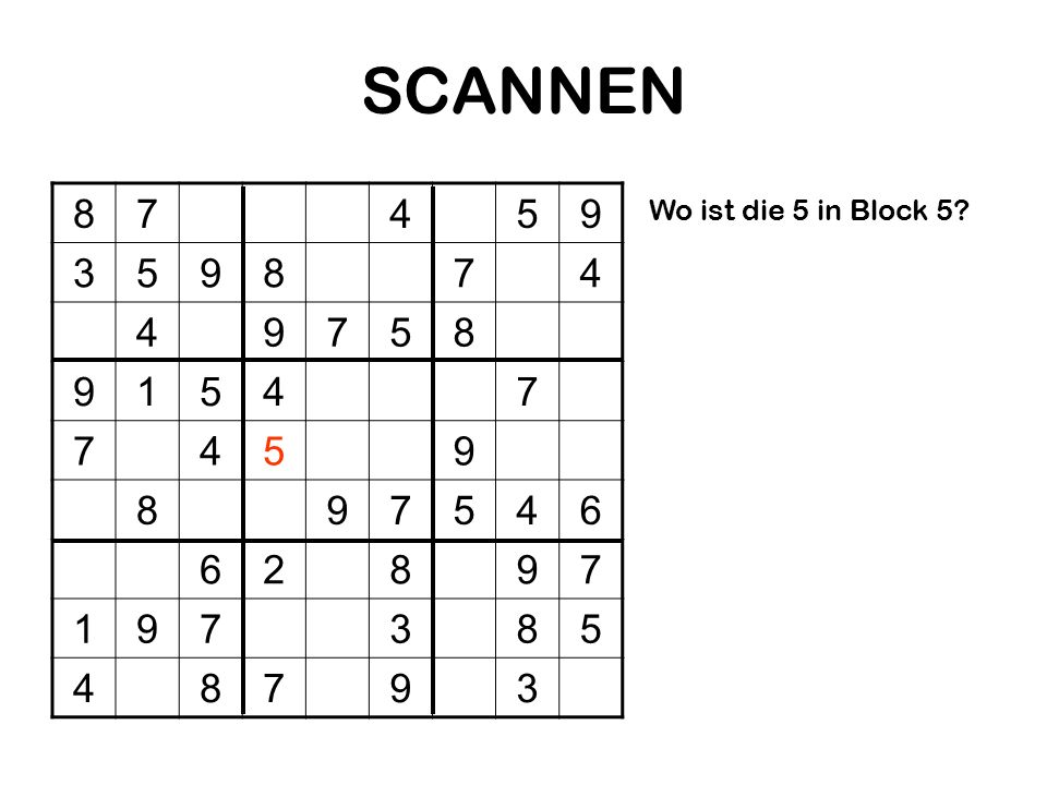 SCANNEN 8 7 4 5 9 3 1 6 2 Wo ist die 5 in Block 5