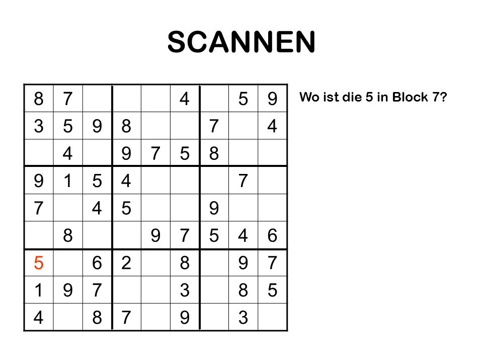 SCANNEN 8 7 4 5 9 3 1 6 2 Wo ist die 5 in Block 7