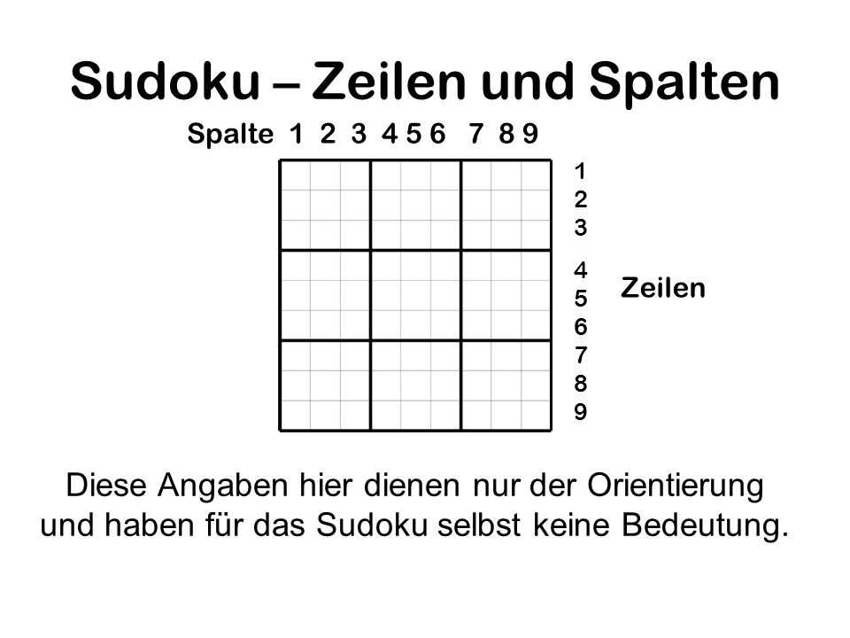 Sudoku – Zeilen und Spalten