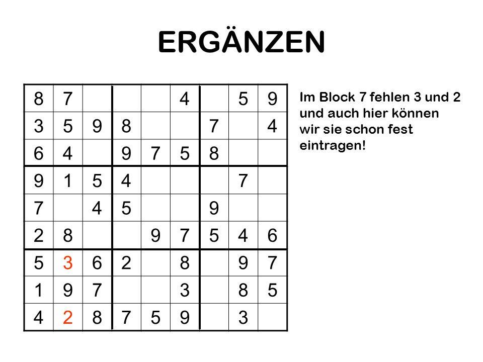 ERGÄNZEN8.7. 4. 5. 9. 3. 6. 1. 2.