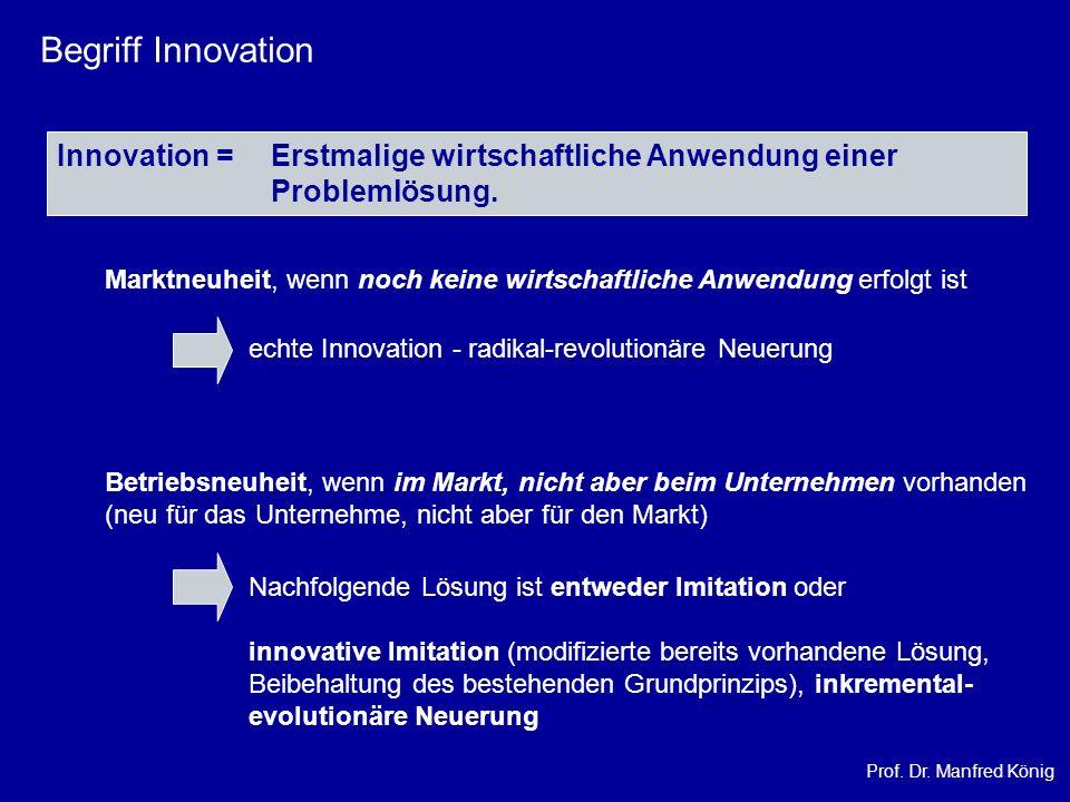 Begriff Innovation Innovation = Erstmalige wirtschaftliche Anwendung einer Problemlösung.