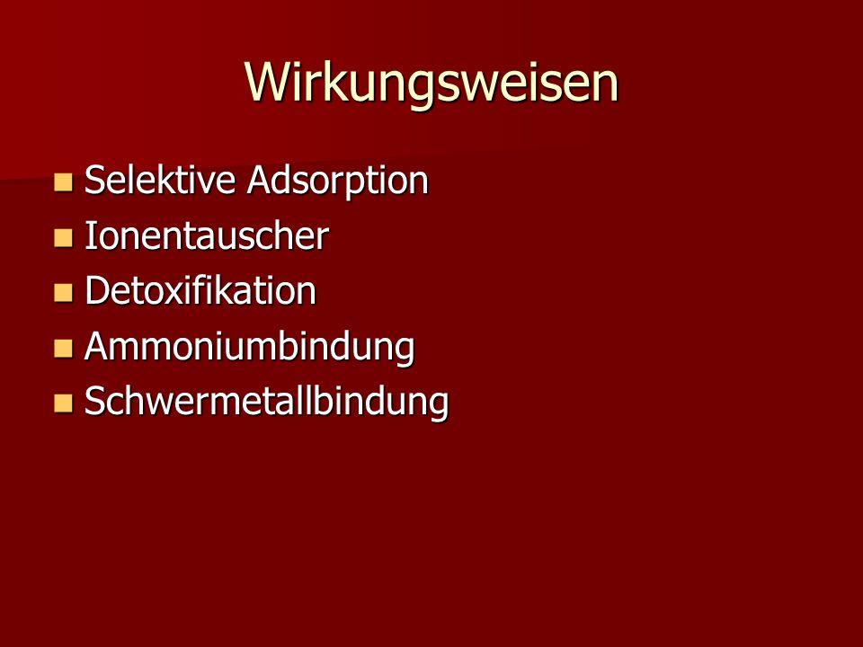 Wirkungsweisen Selektive Adsorption Ionentauscher Detoxifikation
