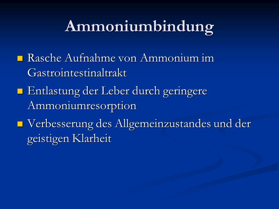 Ammoniumbindung Rasche Aufnahme von Ammonium im Gastrointestinaltrakt