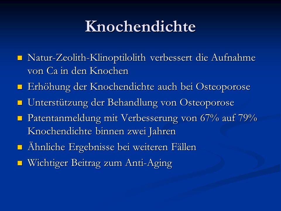 Knochendichte Natur-Zeolith-Klinoptilolith verbessert die Aufnahme von Ca in den Knochen. Erhöhung der Knochendichte auch bei Osteoporose.