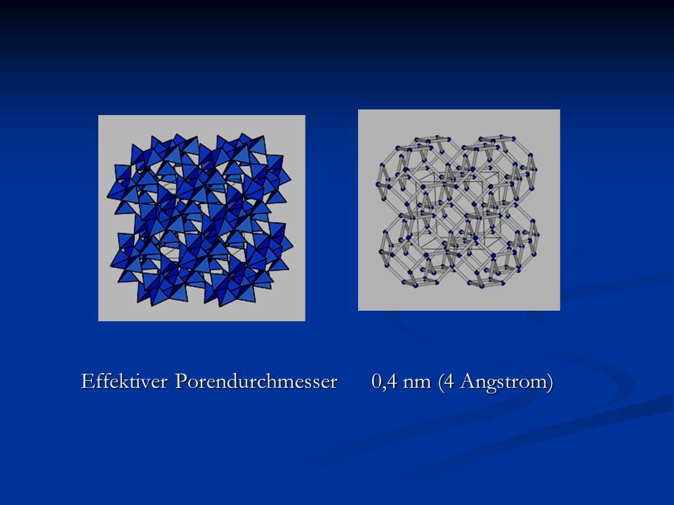 Effektiver Porendurchmesser 0,4 nm (4 Angstrom)