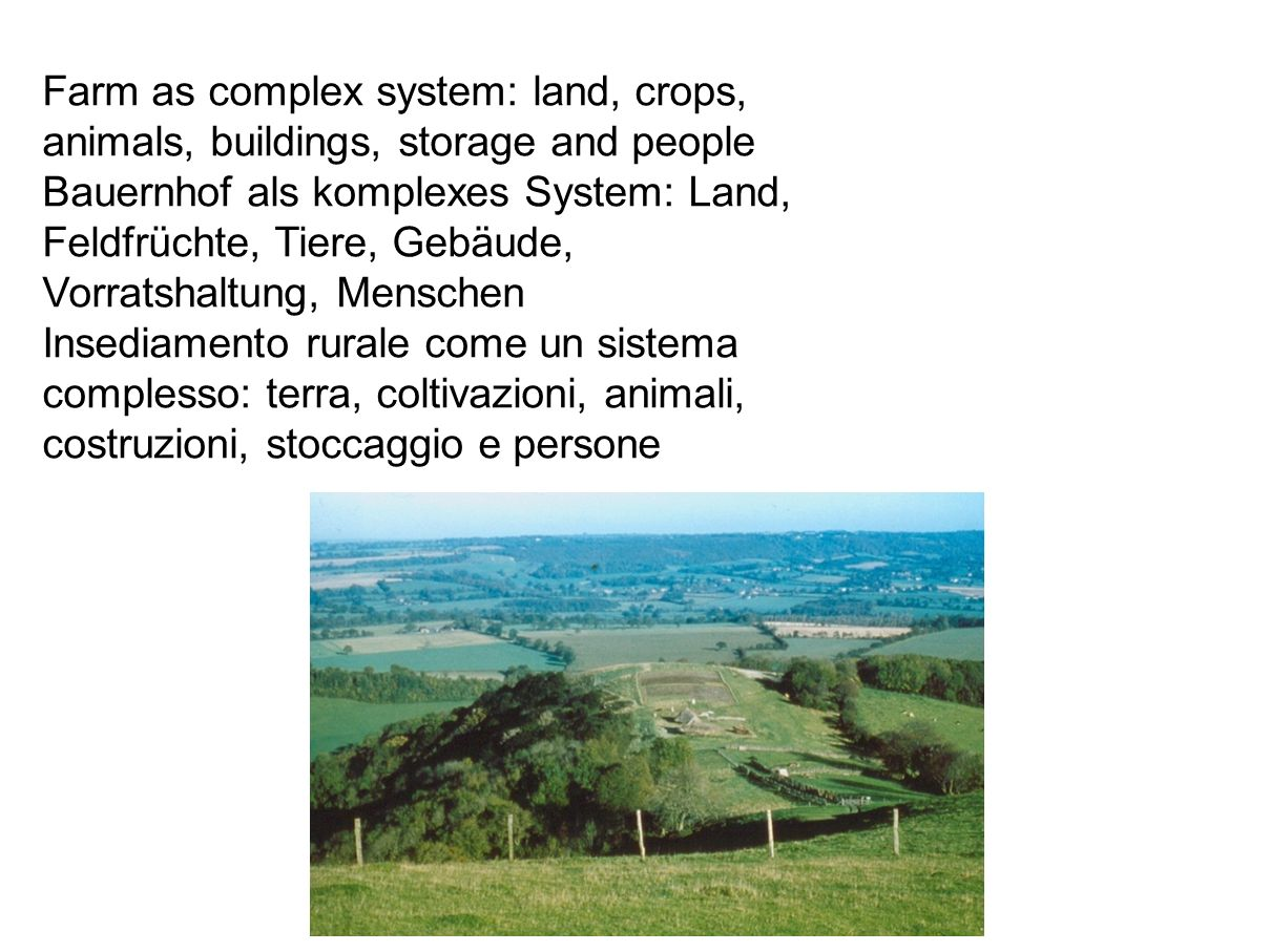 Farm as complex system: land, crops, animals, buildings, storage and people