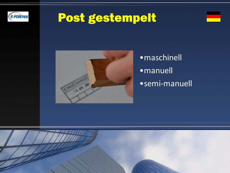 Post gestempelt maschinell manuell semi-manuell