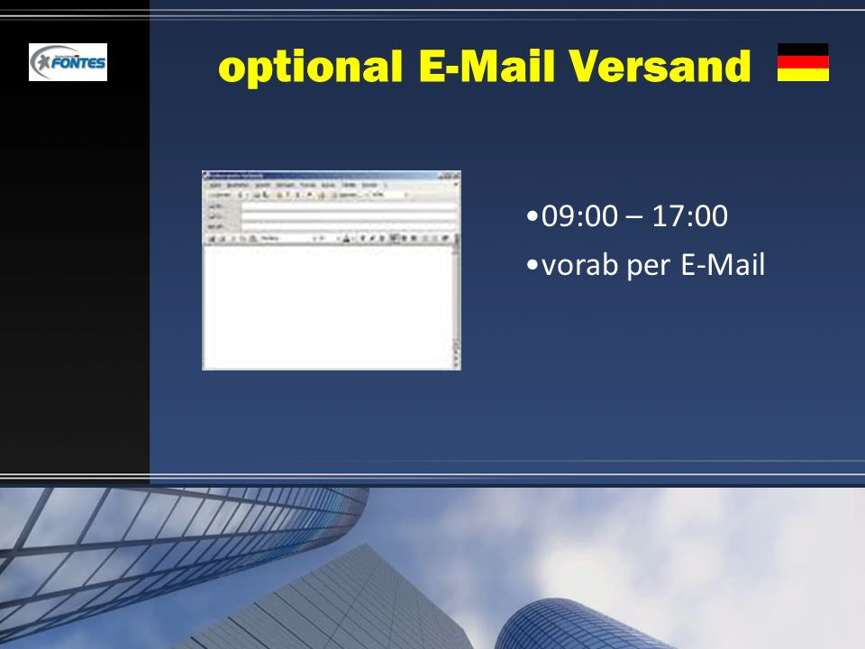 optional E-Mail Versand