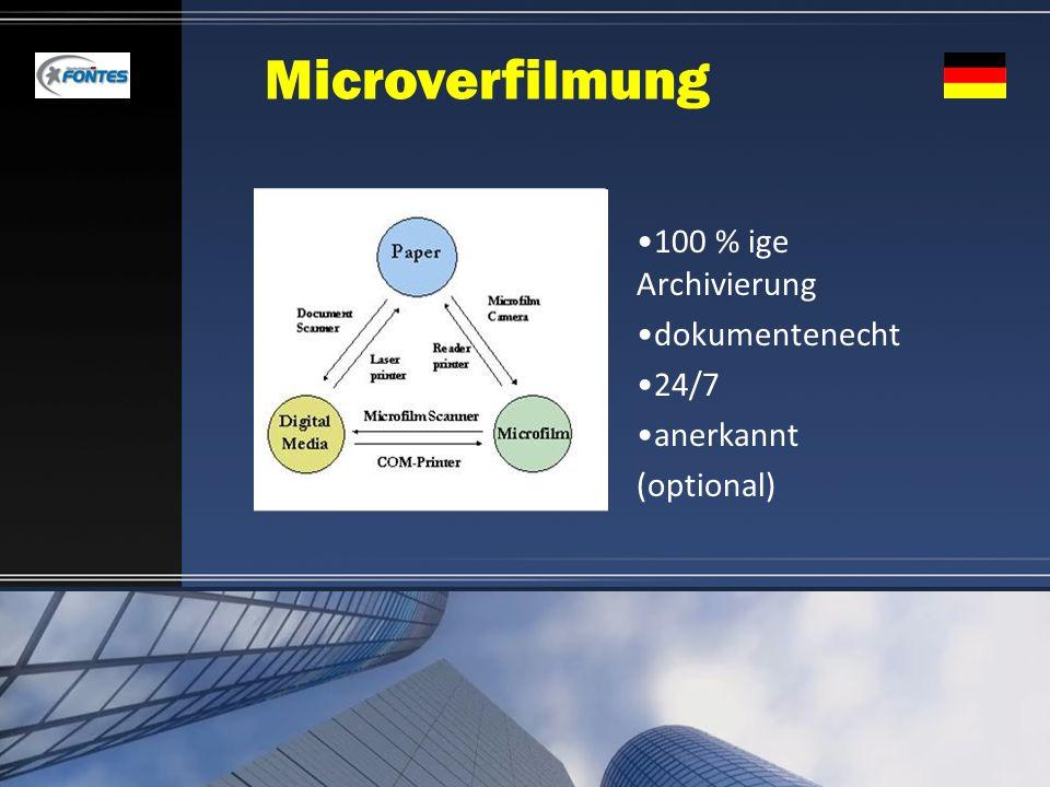 Microverfilmung 100 % ige Archivierung dokumentenecht 24/7 anerkannt