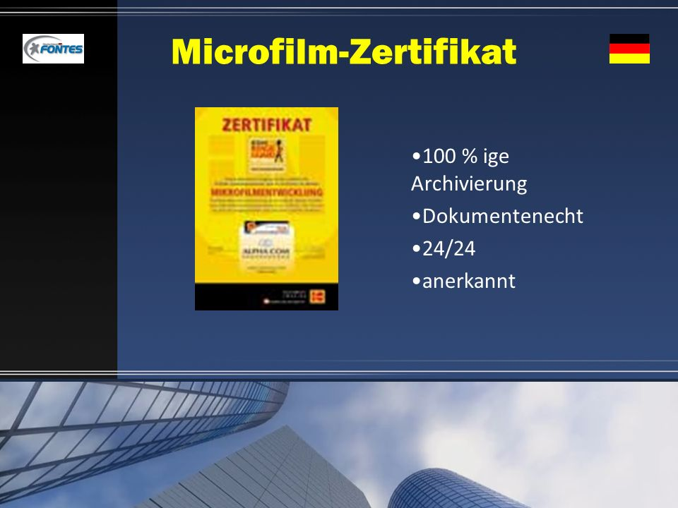 Microfilm-Zertifikat