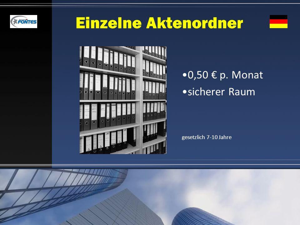 Einzelne Aktenordner 0,50 € p. Monat sicherer Raum
