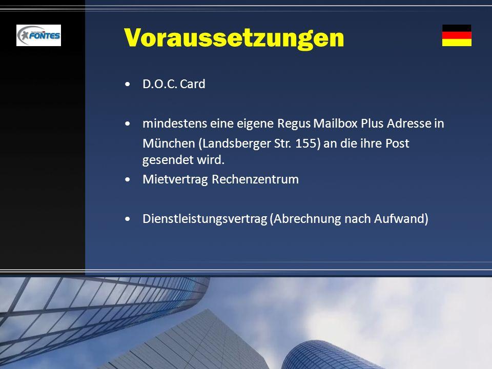 Voraussetzungen D.O.C. Card