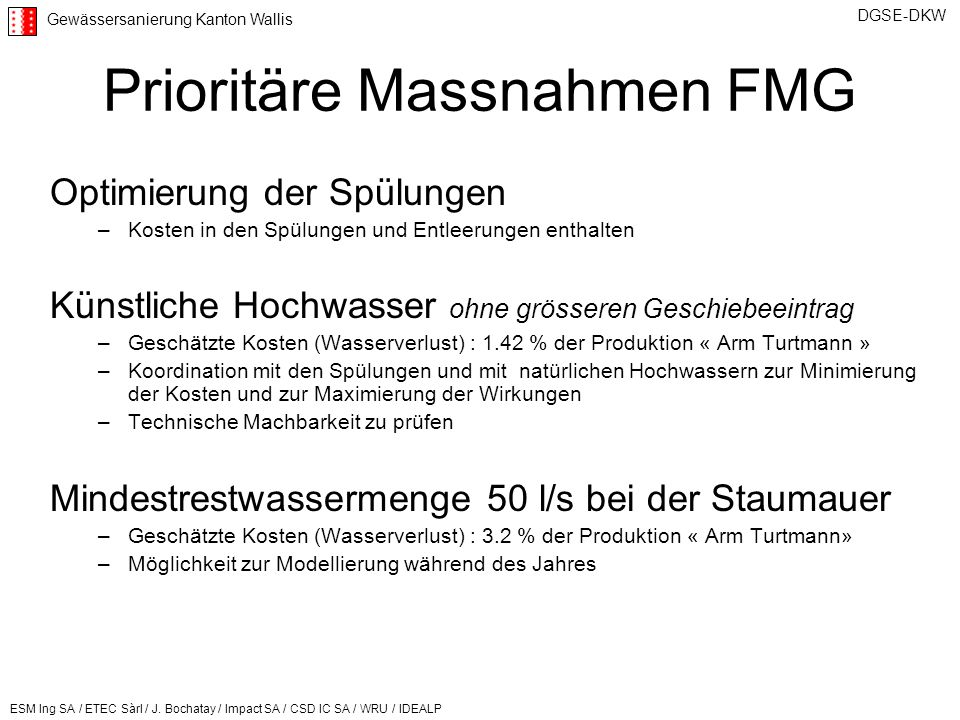 Prioritäre Massnahmen FMG