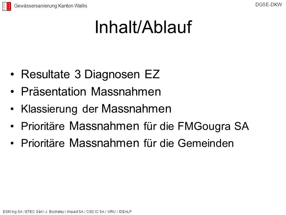Inhalt/Ablauf Resultate 3 Diagnosen EZ Präsentation Massnahmen