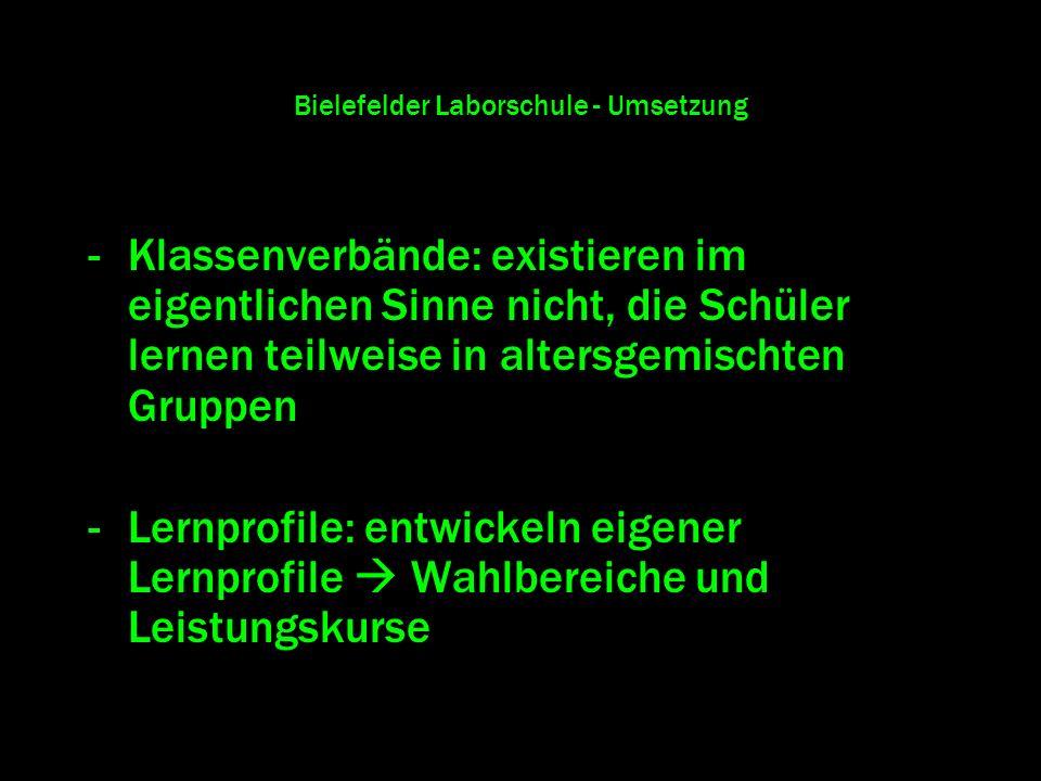 Bielefelder Laborschule - Umsetzung