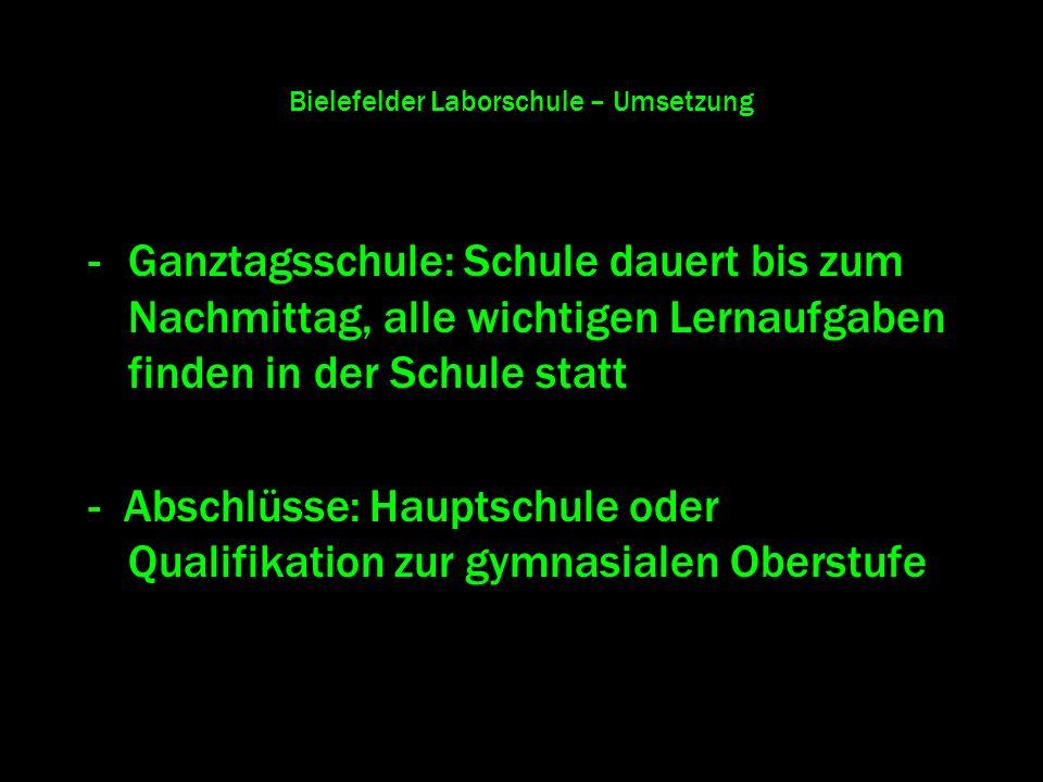 Bielefelder Laborschule – Umsetzung