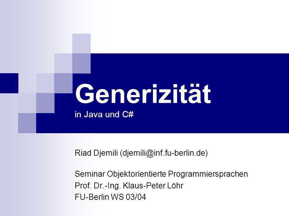 Generizität in Java und C#