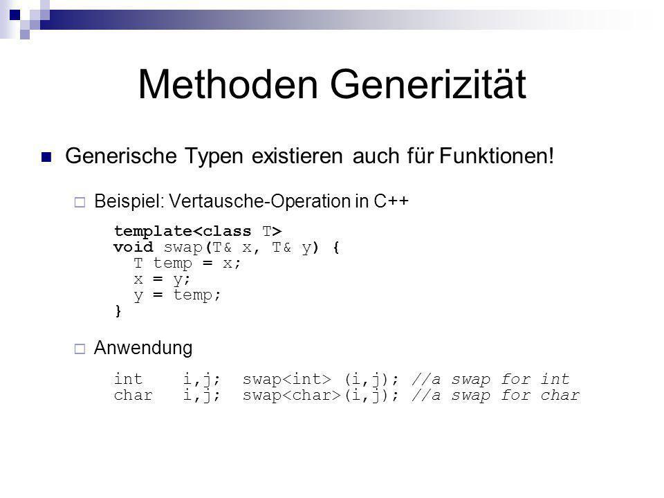 Methoden Generizität Generische Typen existieren auch für Funktionen!