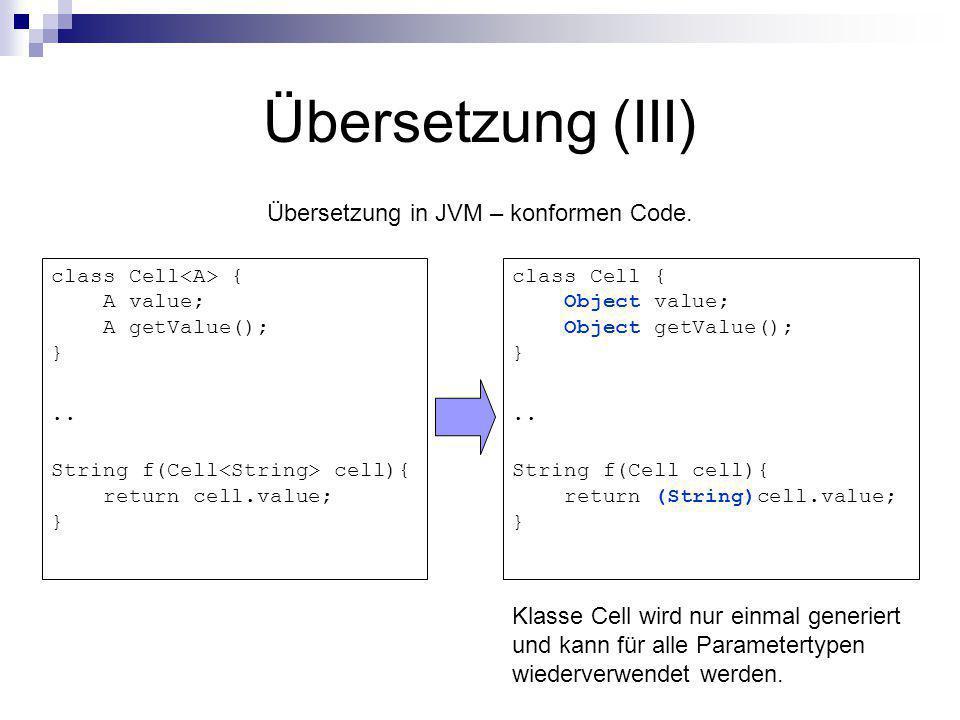 Übersetzung in JVM – konformen Code.