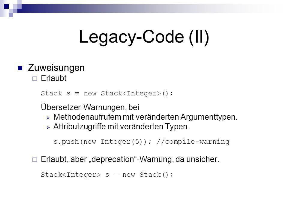 Legacy-Code (II) Zuweisungen