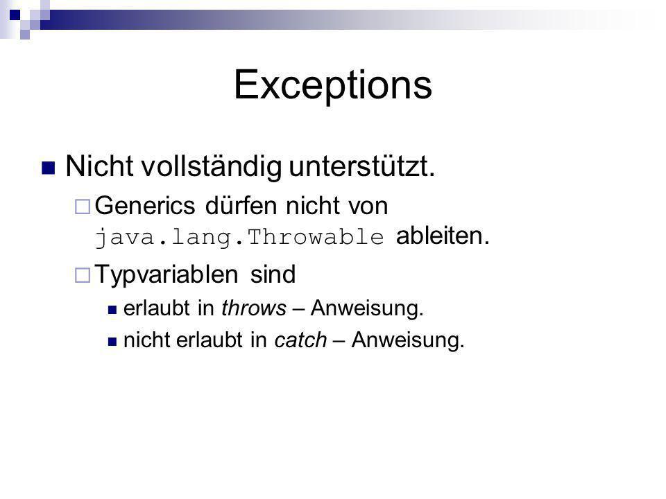 Exceptions Nicht vollständig unterstützt.