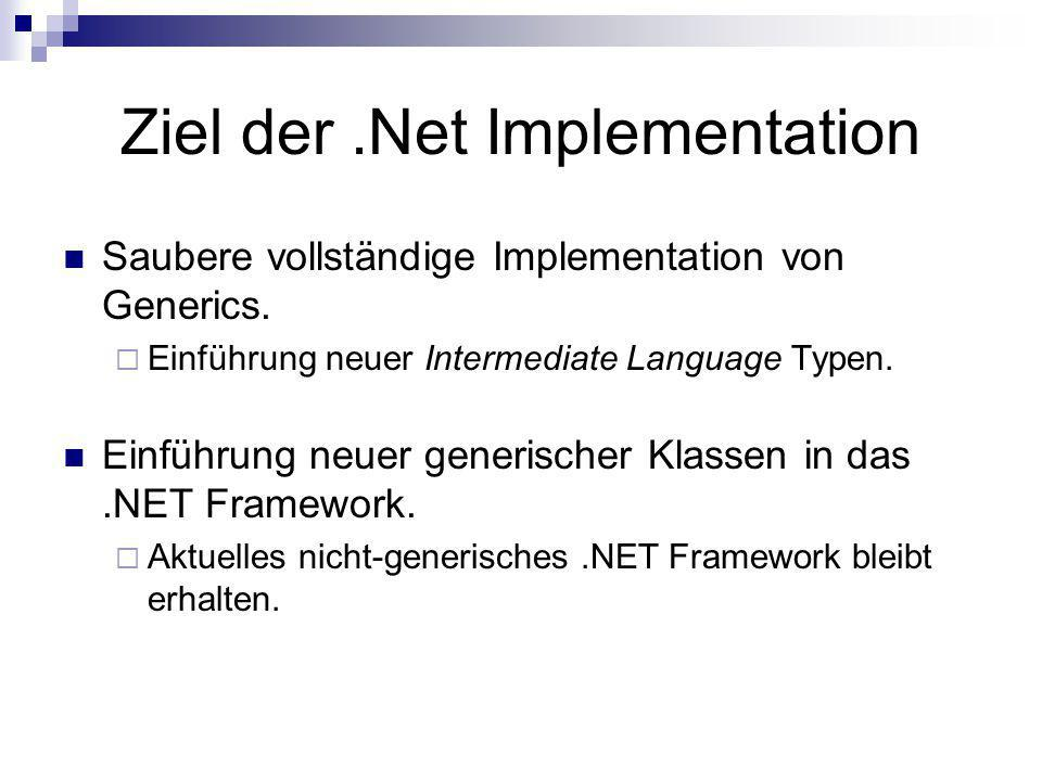 Ziel der .Net Implementation