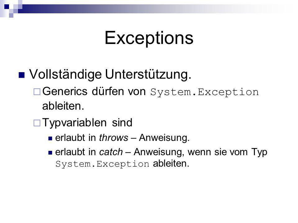 Exceptions Vollständige Unterstützung.