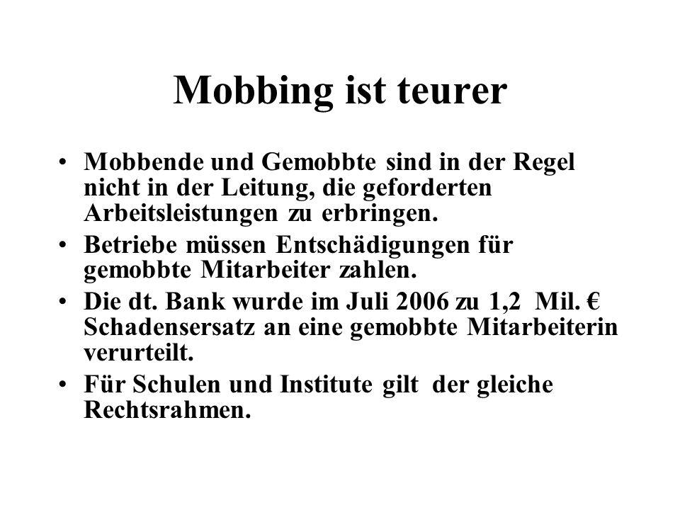 Mobbing ist teurerMobbende und Gemobbte sind in der Regel nicht in der Leitung, die geforderten Arbeitsleistungen zu erbringen.