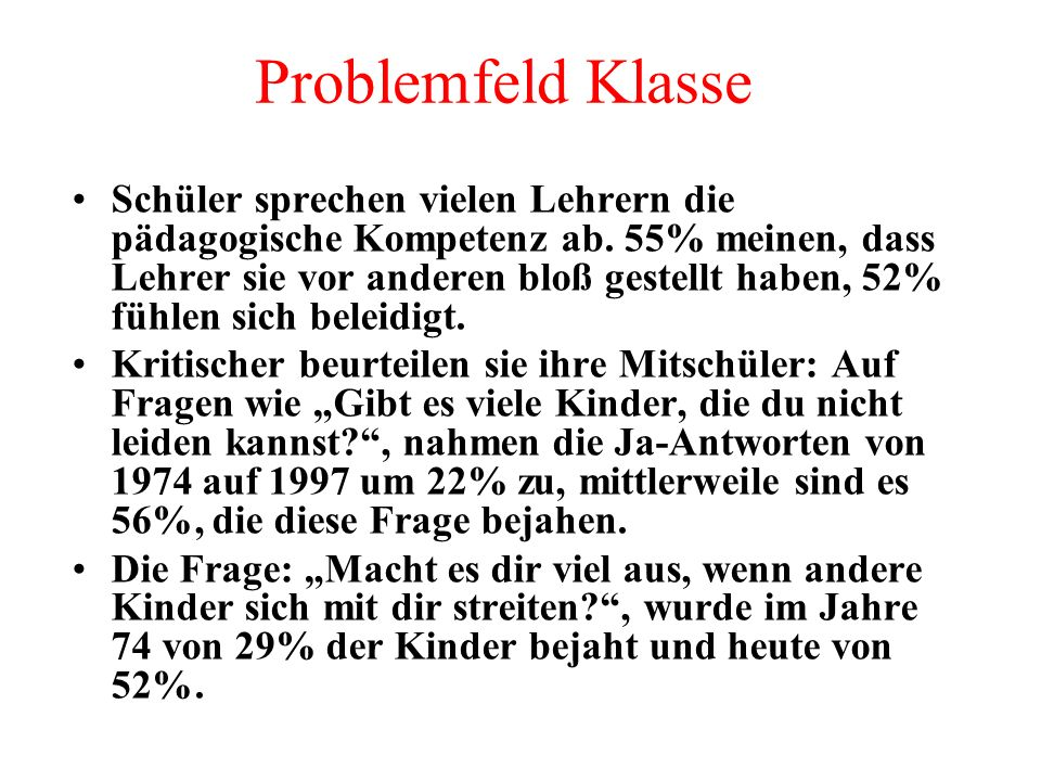Problemfeld Klasse