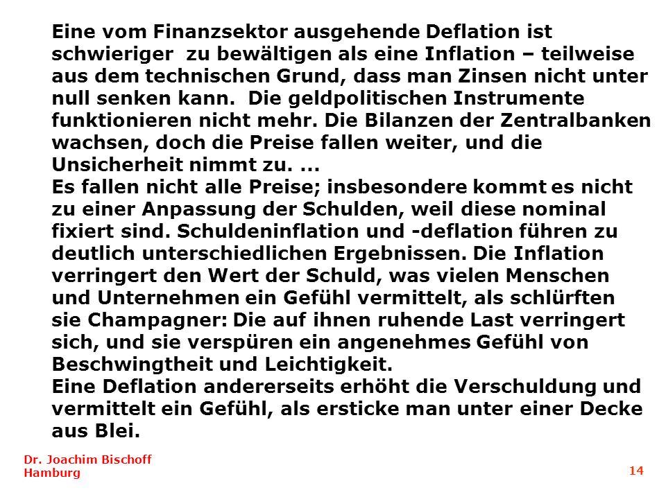 Eine vom Finanzsektor ausgehende Deflation ist schwieriger zu bewältigen als eine Inflation – teilweise aus dem technischen Grund, dass man Zinsen nicht unter null senken kann. Die geldpolitischen Instrumente funktionieren nicht mehr. Die Bilanzen der Zentralbanken wachsen, doch die Preise fallen weiter, und die Unsicherheit nimmt zu. ...