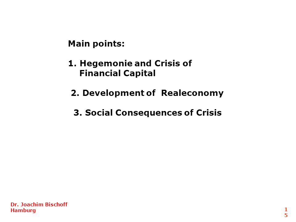 Hegemonie and Crisis of Financial Capital