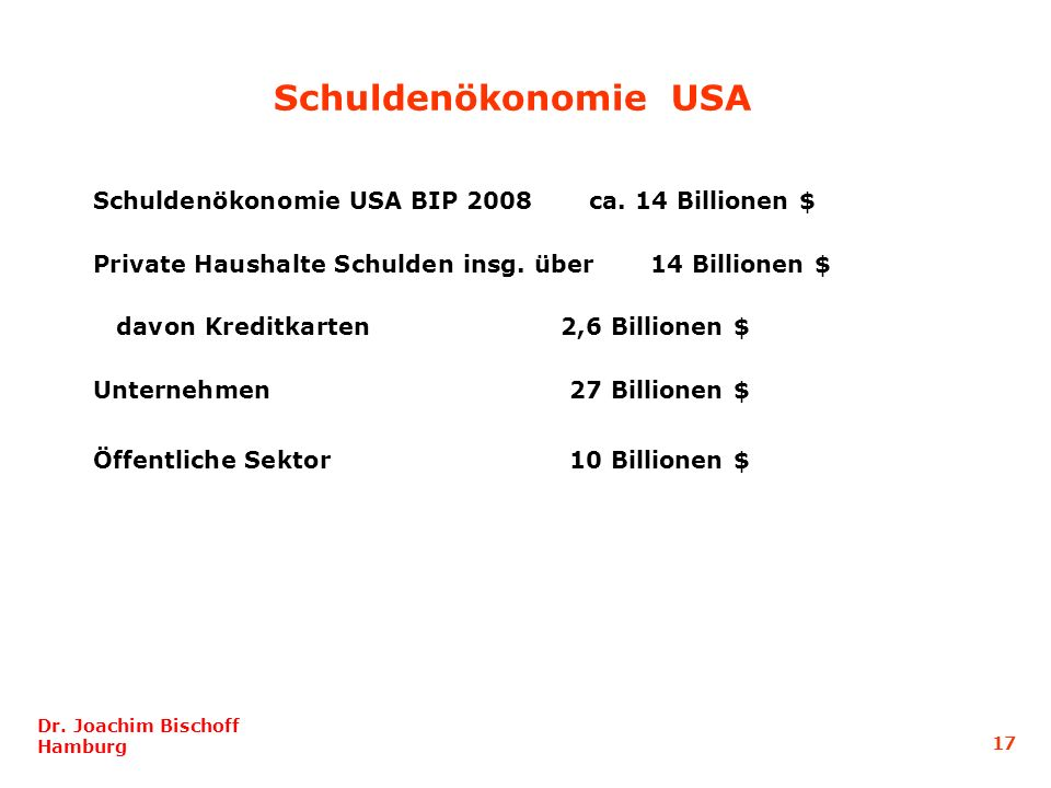 Schuldenökonomie USA Schuldenökonomie USA BIP 2008 ca. 14 Billionen $