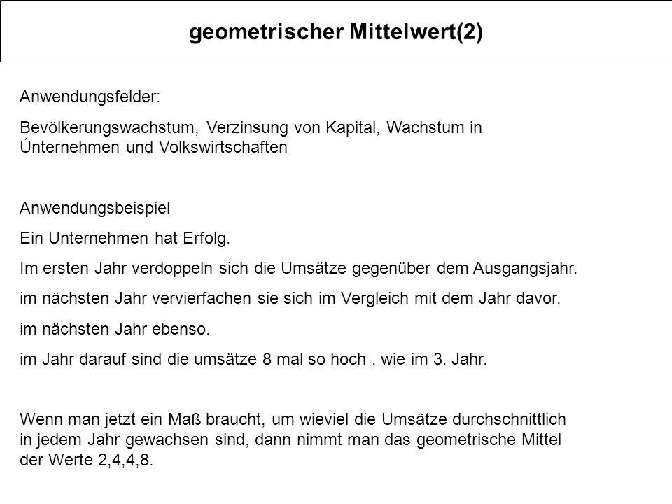 geometrischer Mittelwert(2)