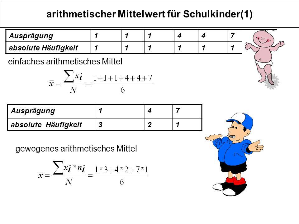 arithmetischer Mittelwert für Schulkinder(1)