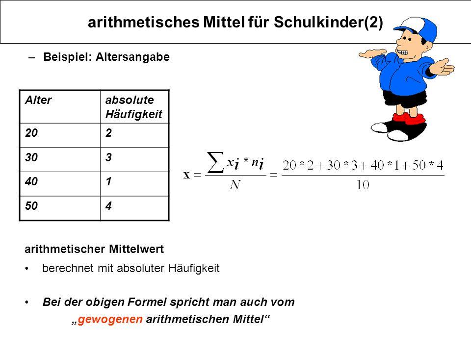 arithmetisches Mittel für Schulkinder(2)