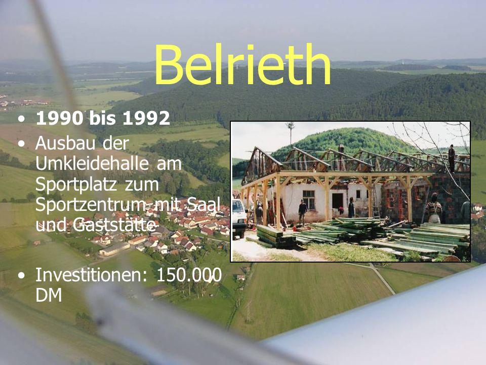 Belrieth 1990 bis 1992. Ausbau der Umkleidehalle am Sportplatz zum Sportzentrum mit Saal und Gaststätte.