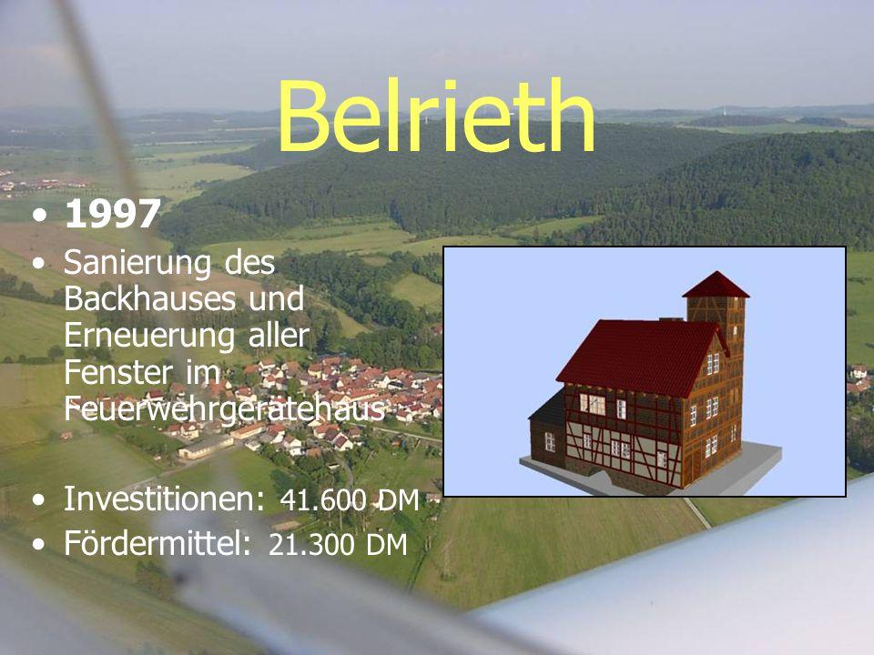 Belrieth 1997. Sanierung des Backhauses und Erneuerung aller Fenster im Feuerwehrgerätehaus. Investitionen: 41.600 DM.