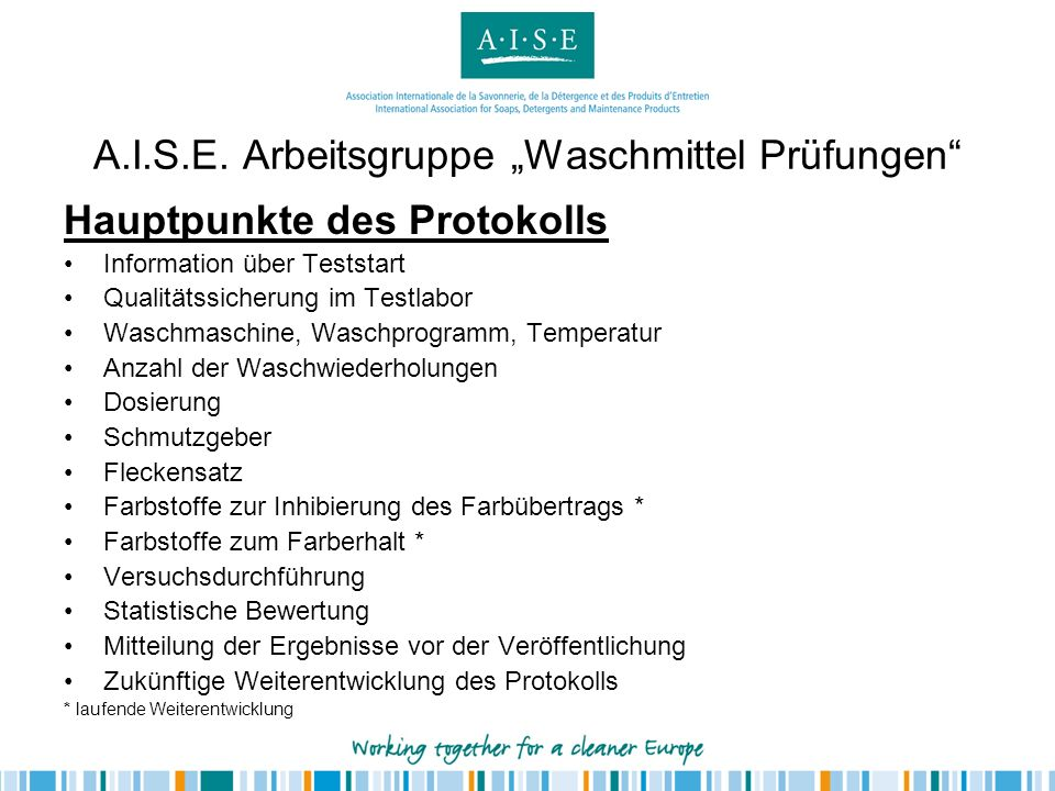 """A.I.S.E. Arbeitsgruppe """"Waschmittel Prüfungen"""