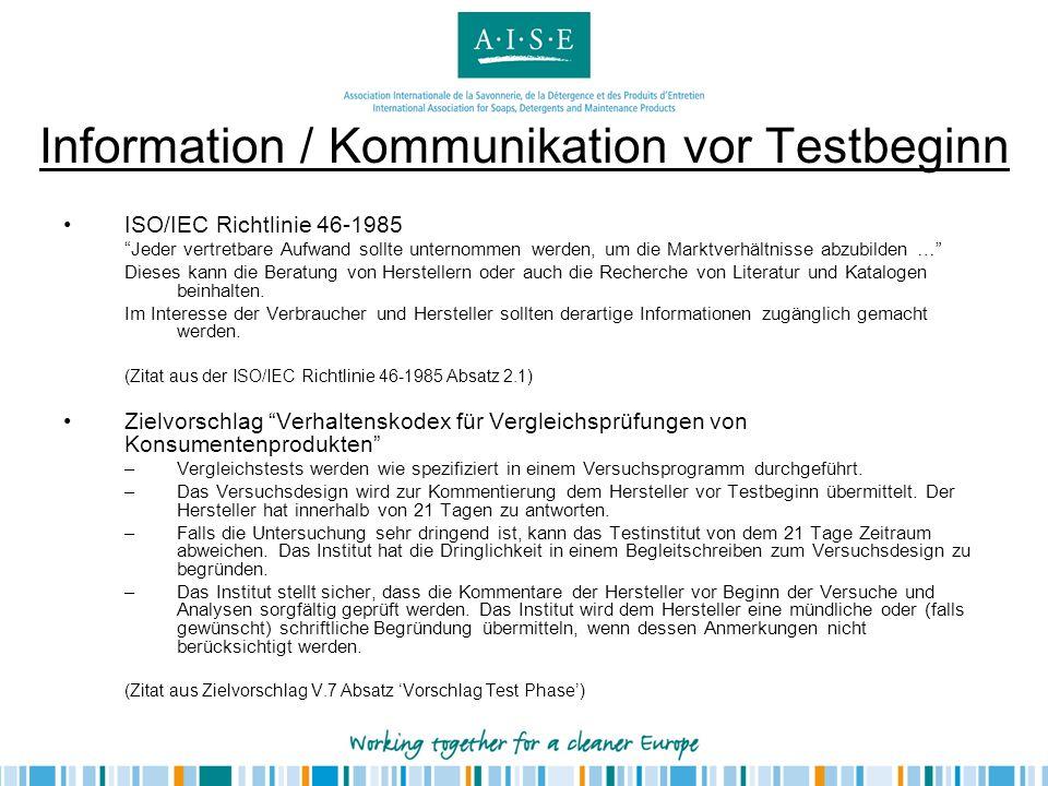 Information / Kommunikation vor Testbeginn