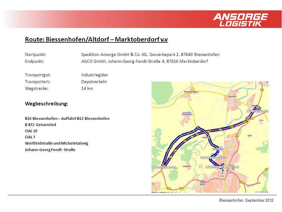 Route: Biessenhofen/Altdorf – Marktoberdorf v.v